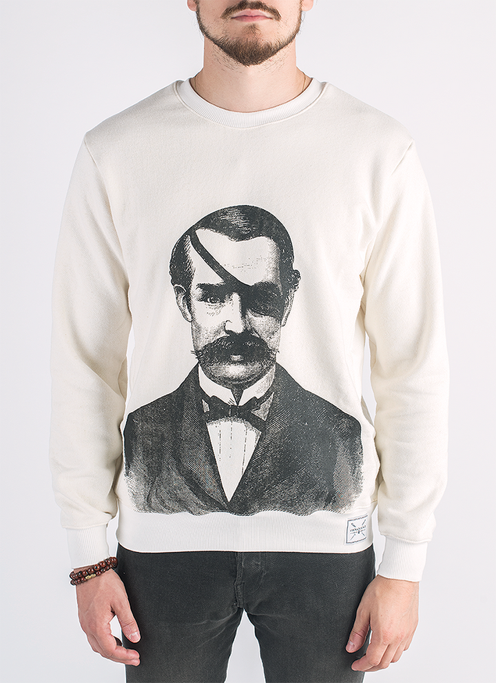 Love is one-eyed screen printed man with eyepatch print in black ink on hemp and bamboo sweater in natural color_ Front