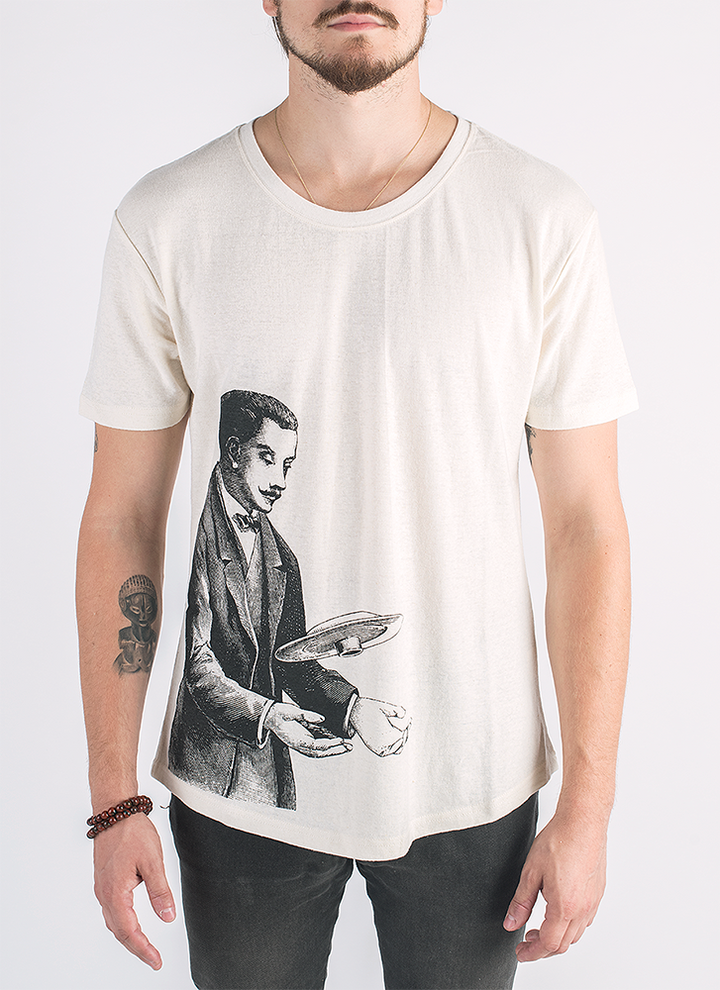 Tesla screen printed man with flying saucer print in black ink on hemp and organic cotton in natural color_ Front