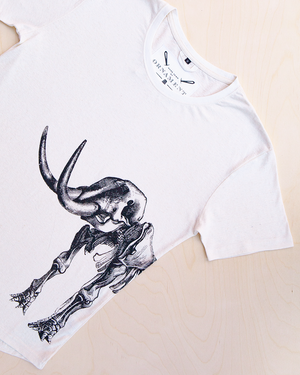 Ancient Revival screen printed mammoth skeleton print in black ink on hemp t-shirt in natural color_ Packshot