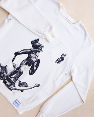 Live and let live screen printed gladiator print in black ink on hemp and bamboo sweater in natural color_ Packshot