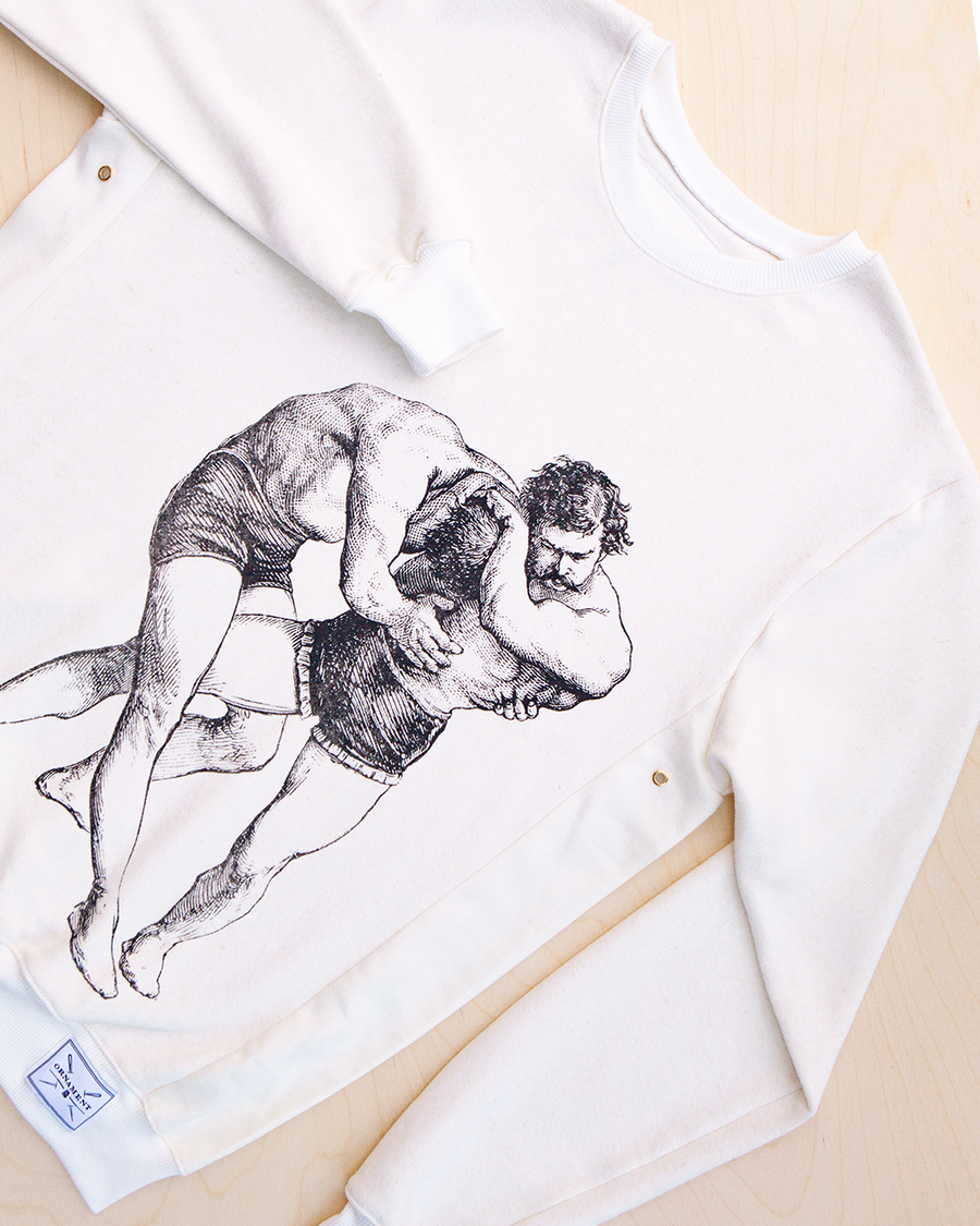 The struggle screen printed wrestling men print in black ink on hemp and bamboo sweater in natural color_ Packshot