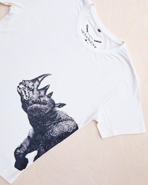 Suspicious Rhinoceros screen printed in black ink on hemp and organic cotton T-shirt in natural color_ Packshot