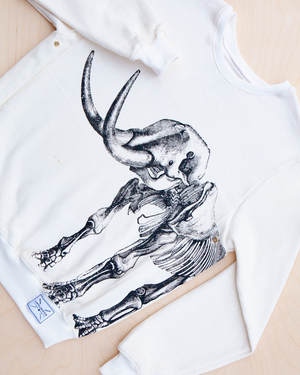 Ancient Revival screenprinted mammoth skeleton print on hemp and bamboo sweater in natural color_ Packshot