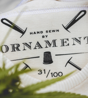 Ornament sustainable hemp clothing logo on hemp canvas fabric_limited edition