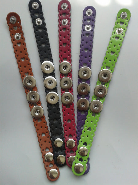 Leather Popper Bracelet Available in 10 Colours