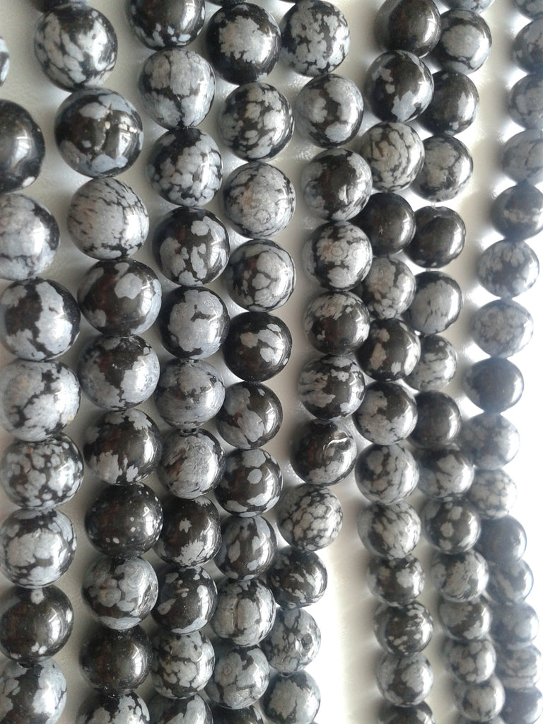 8mm Snowflake Obsidian Round Beads