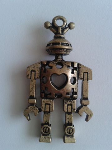 Antique Bronze Robot Charm / Pendant