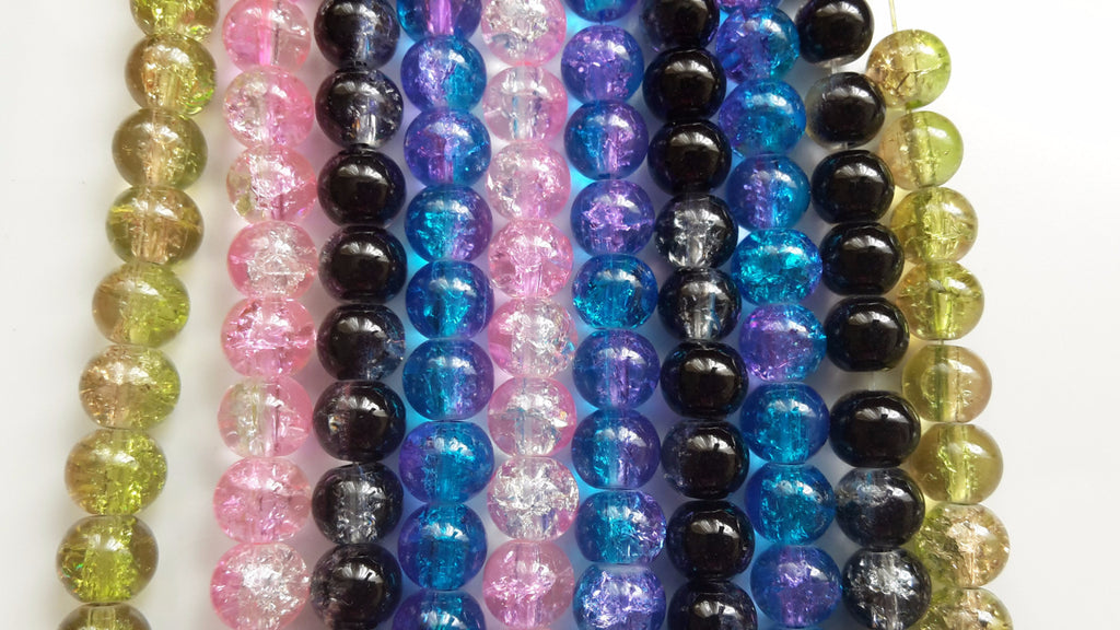 8mm Two Tone Crackle Glass Beads