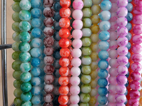 8mm Spray Painted Glass Beads