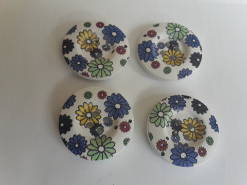 Wooden Buttons with Flower Design