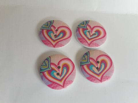 Wooden Buttons 25mm Heart Design