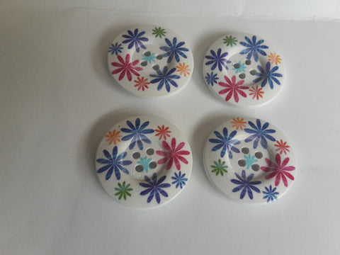 Wooden Buttons 25mm Flower Design