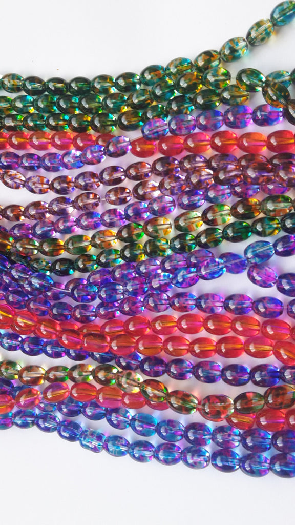 Oval Spray Painted Glass Beads