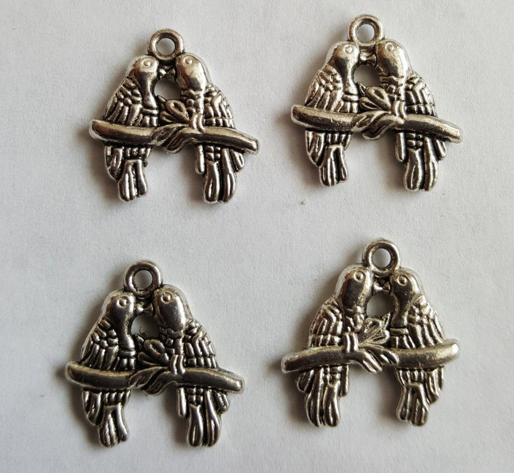 Antique Silver Love Birds Charms