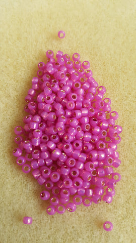 Toho Size 8 Silver Lined Milky Hot Pink