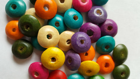 Flat Round Wooden Beads