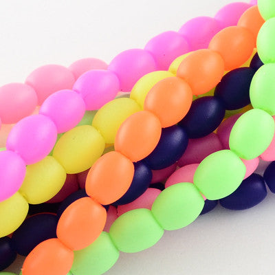 Rubberised Glass Oval Beads