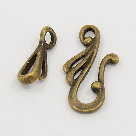 Antique Bronze Hook and Eye Clasps