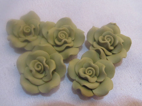 30mm Polymer clay roses, Olive Green
