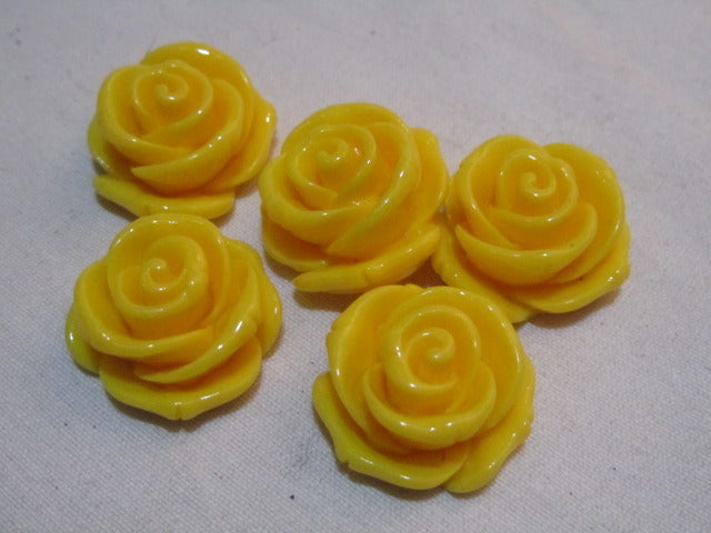 23mm resin rose cabochon, yellow