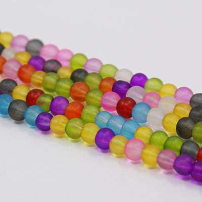 6mm Frosted Glass Beads
