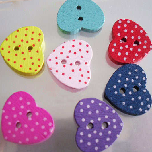 Wooden Heart Buttons