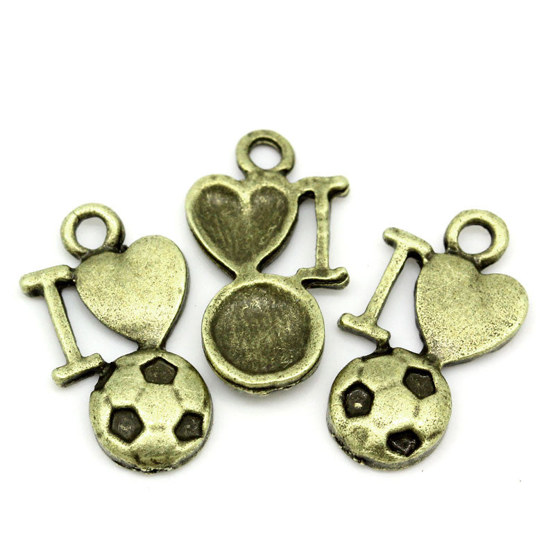 'I Love Football' Charms