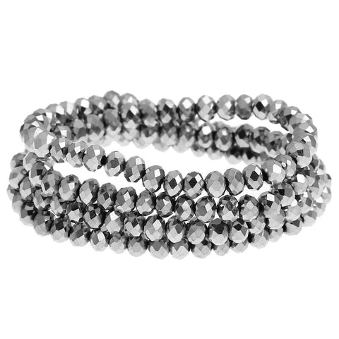 Silver Faceted Rondelle Beads