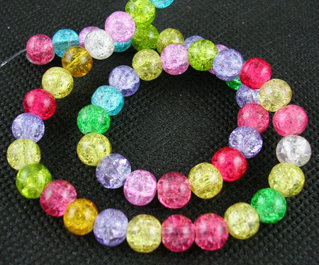 8mm Crackle Beads - Assorted strand
