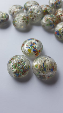 Lampwork Silver Foil Disc Beads