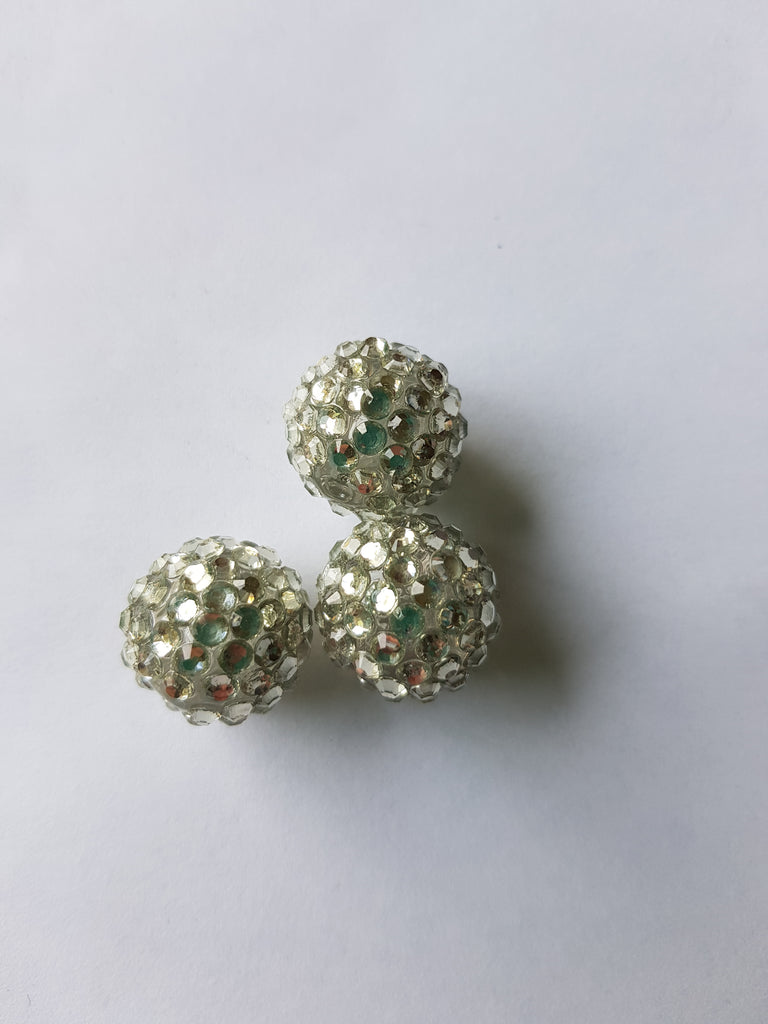 18mm porcelain beads with resin rhinestones