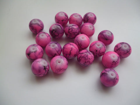 10mm Round glass beads - Mottled pink