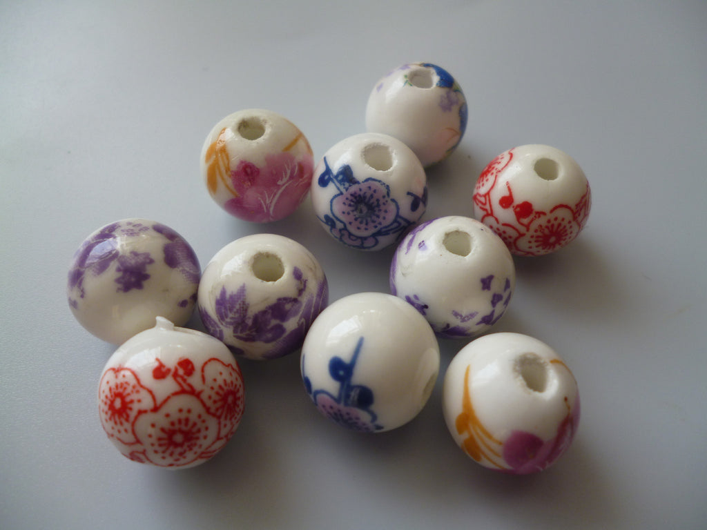 Ceramic Beads with flower pattern