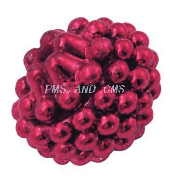 14mm spray painted acrylic berry beads  (red)