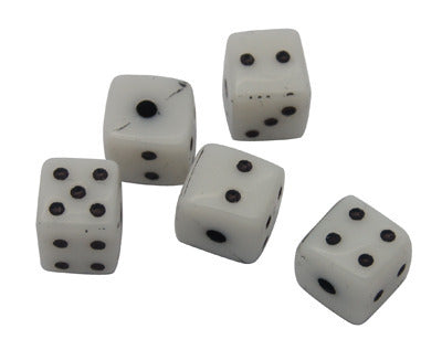 Acrylic white dice, beads. Approx 8mm