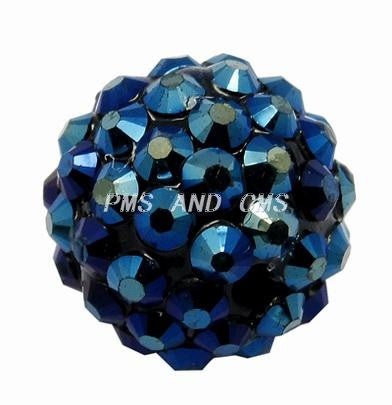 14mm resin rhinestone beads, Dark blue