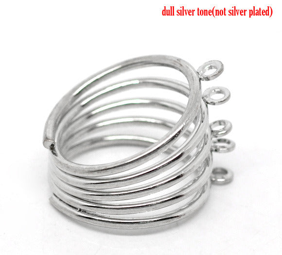 Adjustable silver ring shank 5 loops
