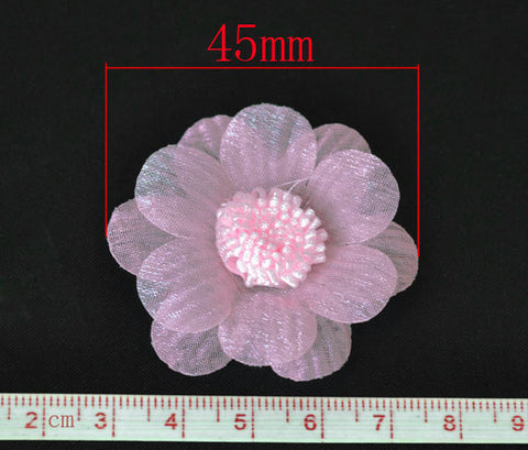 45 mm organza flowers, pink