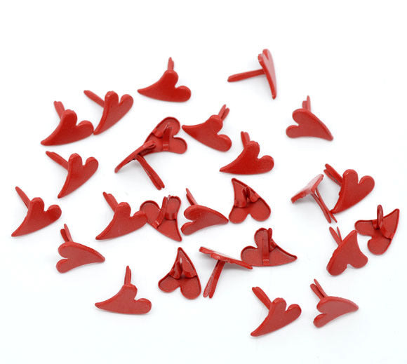 12 x 11mm red heart brads