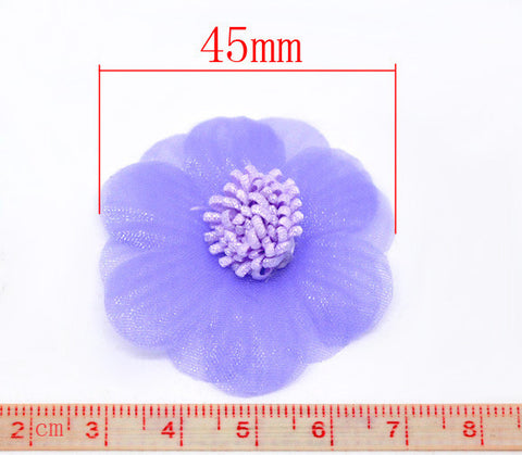 45 mm organza flowers, lilac