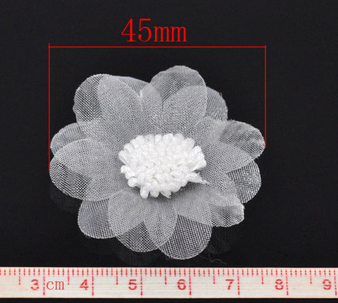 45 mm organza flowers, white