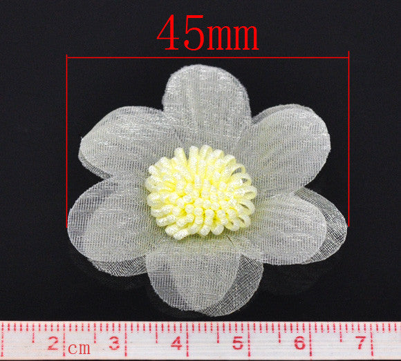 45 mm organza flowers, yellow