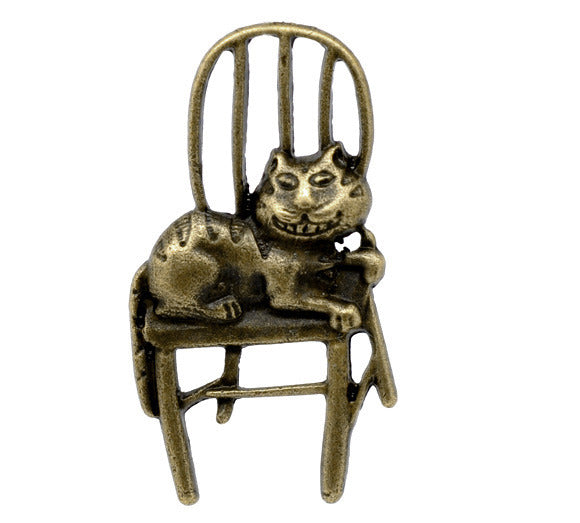 41 x 22mm Antique Bronze, cat on a chair pendant