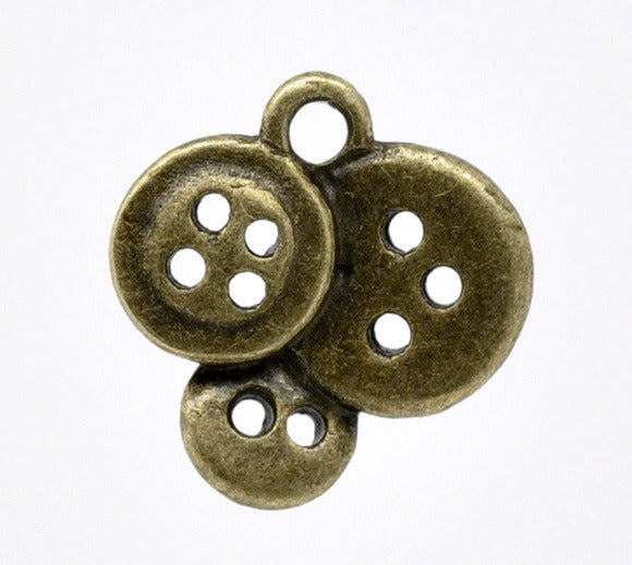 16 x14mm antique bronze button charms