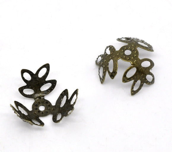 Antique Bronze leaf bead caps 14mm