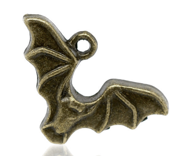 24 x 15mm Antique bronze bat charms