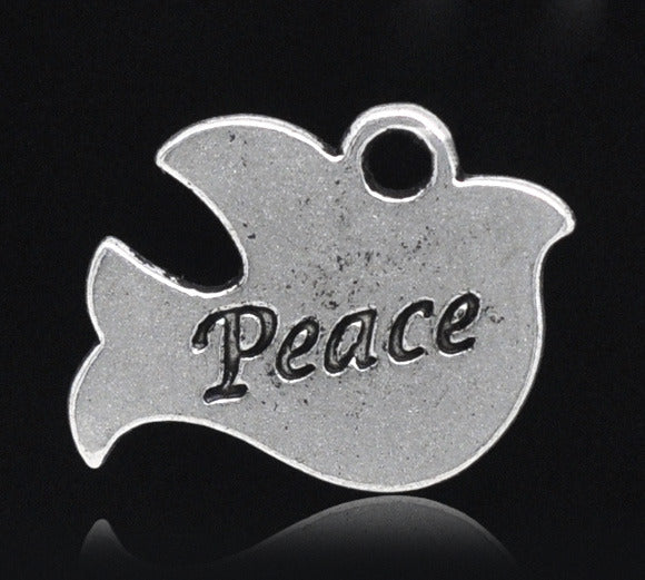 20 x16mm Silver tone dove of peace charm