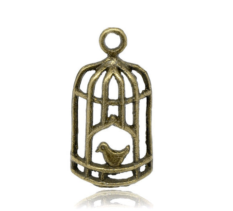 27 x 13mm antique bronze bird cage charm