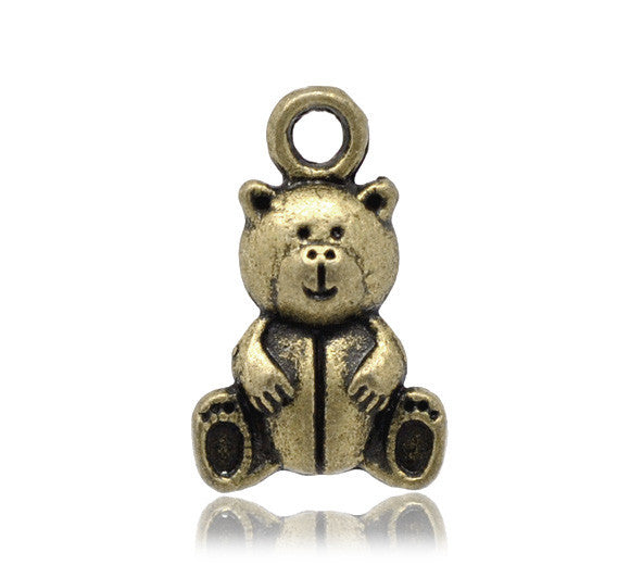16 x 10mm teddy bear charm, bronze