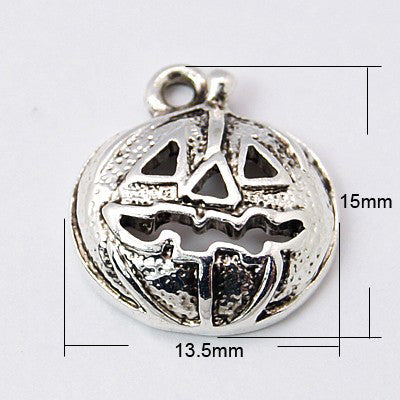Antique Silver Pumpkin Charm